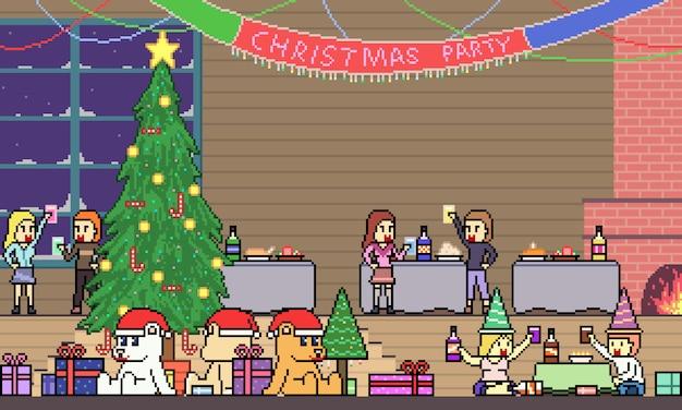 Пиксель арт рождественская вечеринка Premium векторы