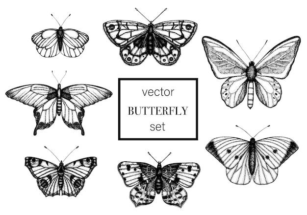 Набор рисованной черно-белых бабочек. Premium векторы