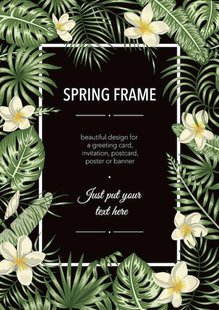 Шаблон рамы с тропическими листьями и цветами. вертикальный макет карты с местом для текста. весенний или летний дизайн Premium векторы