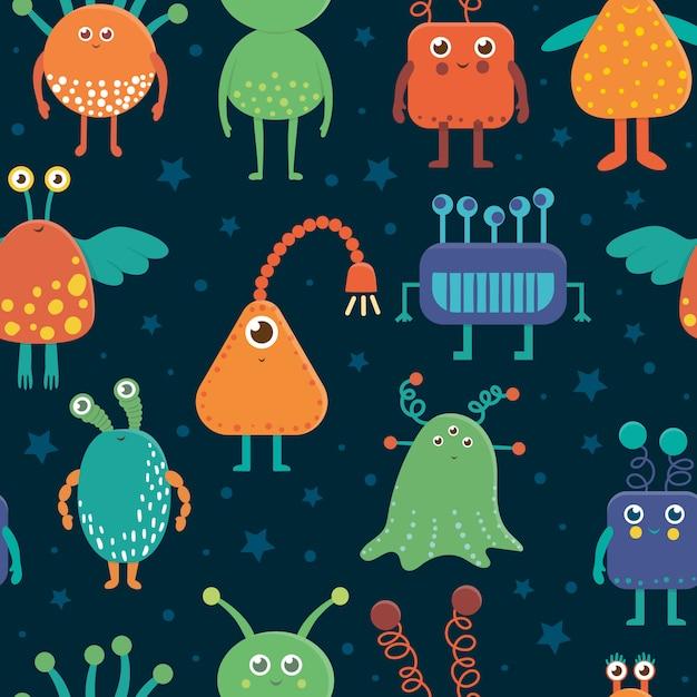 Бесшовный образец милых иностранцев для детей. яркая и забавная плоская иллюстрация улыбающихся инопланетных существ на синем фоне. космическая картинка для детей. Premium векторы