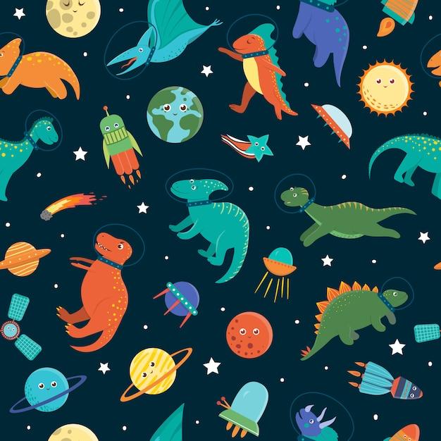 Бесшовный узор с милой динозавров в космическом пространстве. смешные плоские космические дино символов фона. симпатичные доисторические рептилии иллюстрации Premium векторы