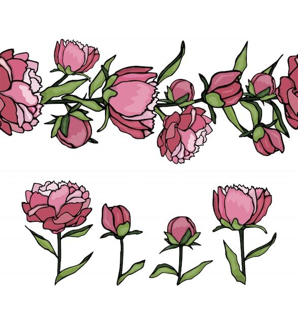 Набор пионов элементов и узорчатой кисти. нарисованная рукой иллюстрация стиля шаржа. симпатичные летние или весенние шаблоны свадьбы, праздника или открытки Premium векторы