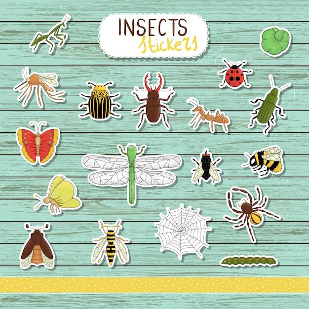 青い木製の着色された昆虫のステッカーのセット。白い背景の明るい蜂、マルハナバチ、メイバグ、フライ、,、蝶、毛虫、クモ、てんとう虫に分離のコレクション Premiumベクター