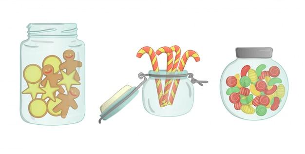 クッキー、キャンディー、ジンジャーブレッド、お菓子とガラスの瓶 Premiumベクター