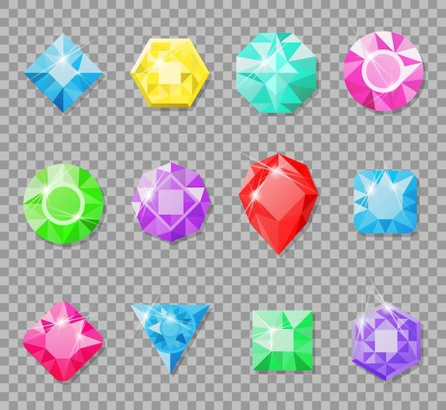 Драгоценные камни, изолированные на прозрачной Premium векторы