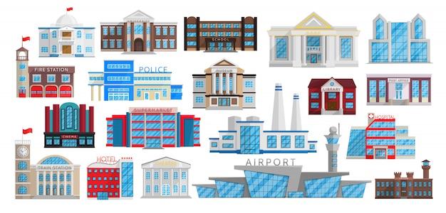 Набор зданий, изолированных в плоский. Premium векторы