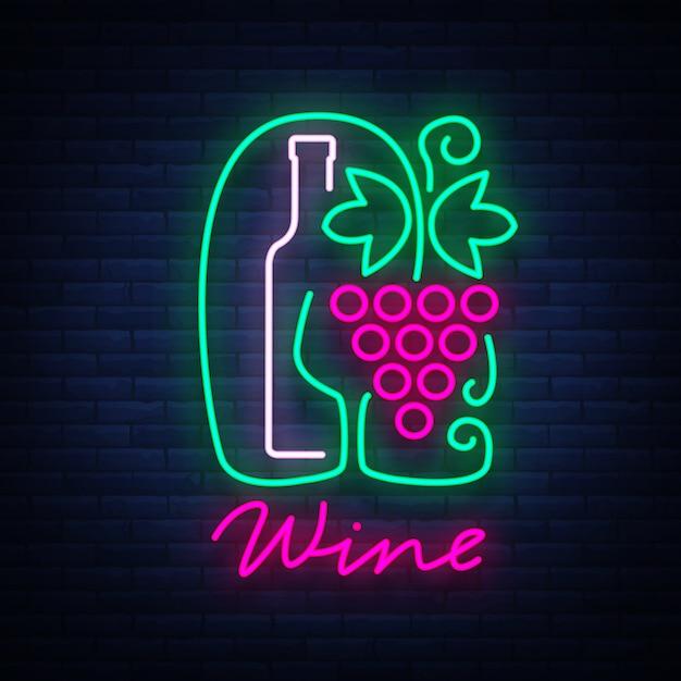 テンプレートロゴワインバーネオン Premiumベクター