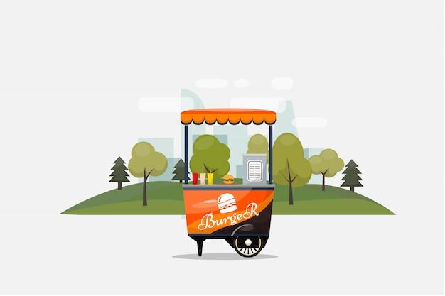 ハンバーガーファーストフードカード分離、車輪、小売、ファーストブレックファースト、ランチ、イラスト、フラットスタイルのイラストのキオスク。 Premiumベクター
