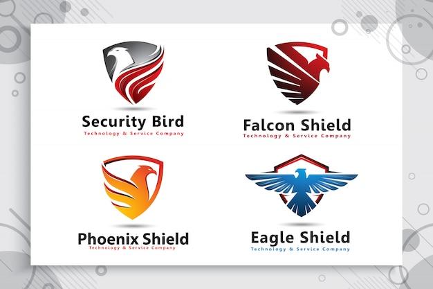 テクノロジー会社のモダンなスタイルのイーグルシールドロゴのコレクションを設定します。 Premiumベクター