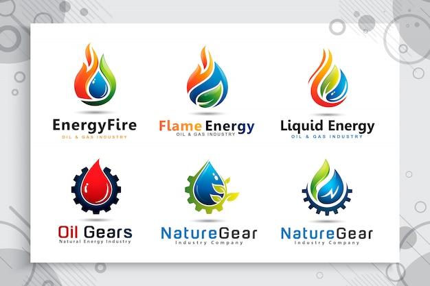 シンボルの石油およびガス会社の歯車歯車概念と水ドロップロゴのコレクションを設定します。 Premiumベクター