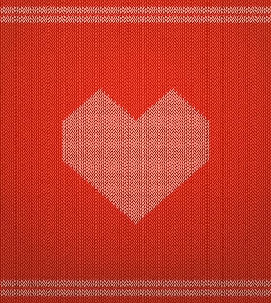 Вязаный узор с красным сердцем Premium векторы
