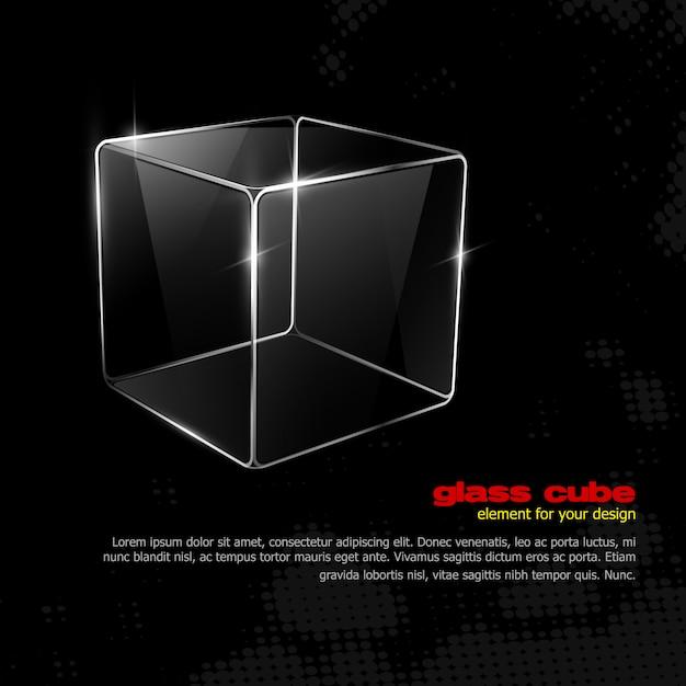 ガラス製キューブ Premiumベクター