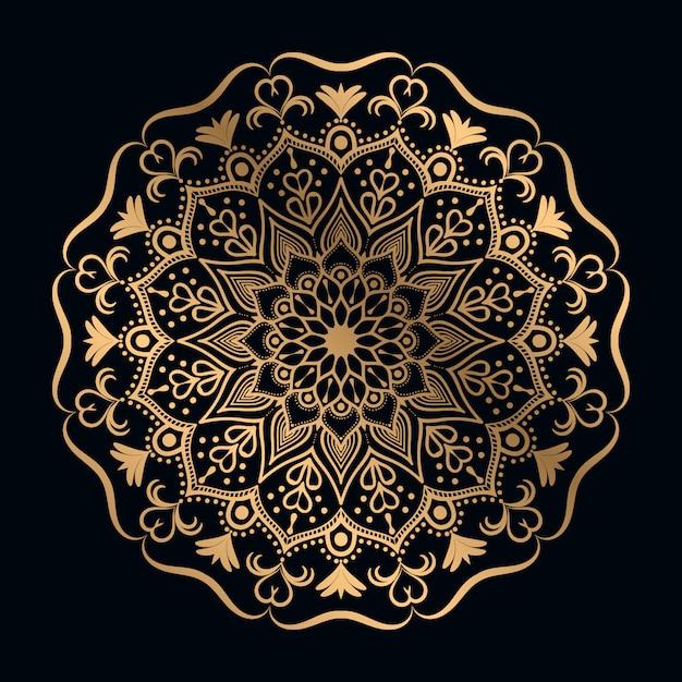黄金のアラベスクデザインアラビア東スタイルと豪華なマンダラの背景 Premiumベクター