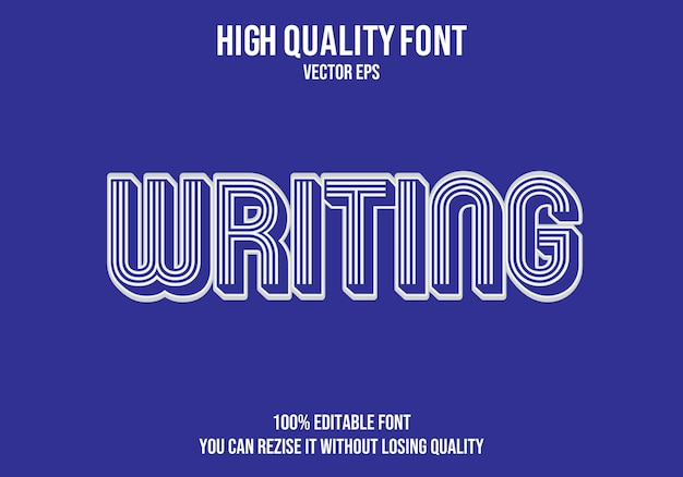 Написание редактируемого текстового эффекта Premium векторы