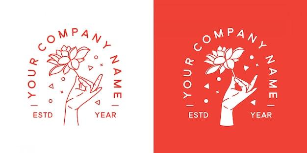 Мудра хэнд логотип минималист Premium векторы