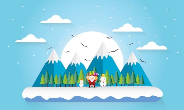 旅行冬の山の森風景 Premiumベクター
