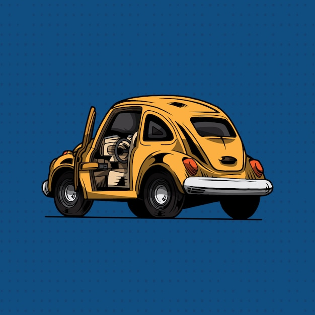 Желтый автомобиль классик фольксваген жук Premium векторы