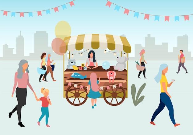 Тележка уличного рынка деревянная с иллюстрацией игрушек. ретро цирк ярмарка магазин киоск на колесах. торговая тележка с поделками. люди гуляют на летнем фестивале, на карнавальных уличных лавках мультфильмов Premium векторы