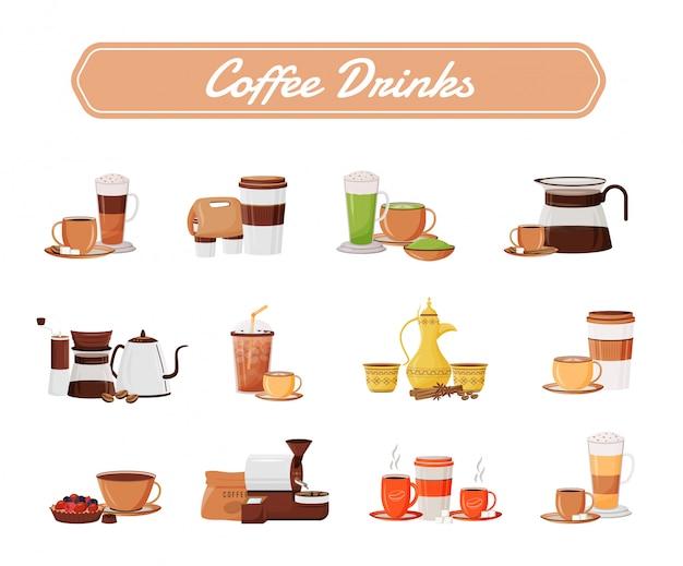 コーヒー飲料オブジェクトセット Premiumベクター