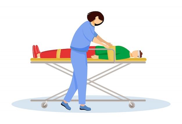 Медсотрудник с раненым пациентом на иллюстрации подрамника плоской. срочная помощь, реанимация, реанимация. спасатель, медик. эмт, доктор мультипликационный персонаж, изолированные на белом Premium векторы