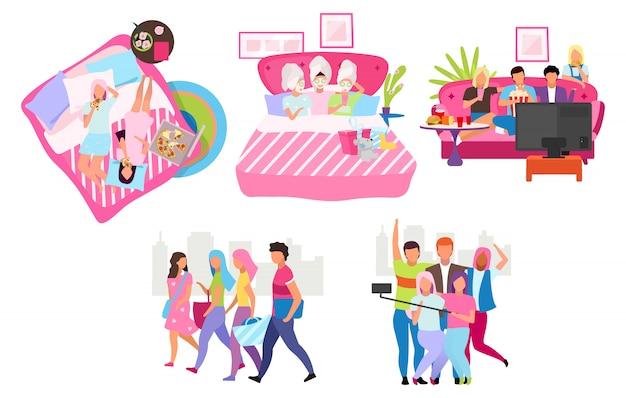 Друзья группы плоских иллюстраций набор. молодые люди проводят время, встречаясь вместе с героями мультфильмов. мужская и женская дружба. студенты, девушки и парни принимают селфи, гуляют, едят пиццу Premium векторы
