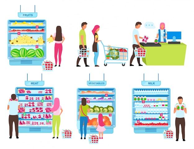 顧客購入プロセスフラットイラストセット。食料品店で商品を選択し、現金デスクの漫画のキャラクターで商品を購入する人々。 Premiumベクター