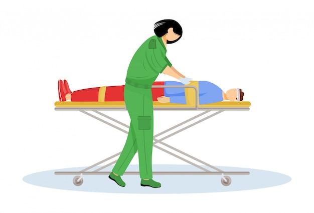 Фельдшер, давая первой помощи плоский векторные иллюстрации. срочная помощь, реанимация. спасатель, медик. эмт и пациент с травмой на носилках мультипликационный персонаж. доктор изолированный на белизне Premium векторы