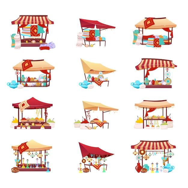 Базар торговые палатки мультфильм векторные иллюстрации набор. ближневосточная торговая площадка плоских цветных объектов. розничный навес с сувенирами, керамикой ручной работы, кальяном и коврами ручной работы Premium векторы