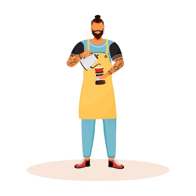 Бариста с бородой плоский характер Premium векторы