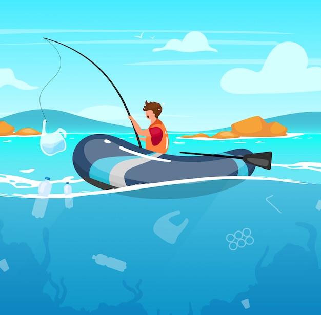 ゴミイラストいっぱい海で釣りをする人。水のジャンク。自然のダメージ。生態学的大災害。海洋汚染。ロッドの漫画のキャラクターのプラスチックパッケージを持つ漁師 Premiumベクター