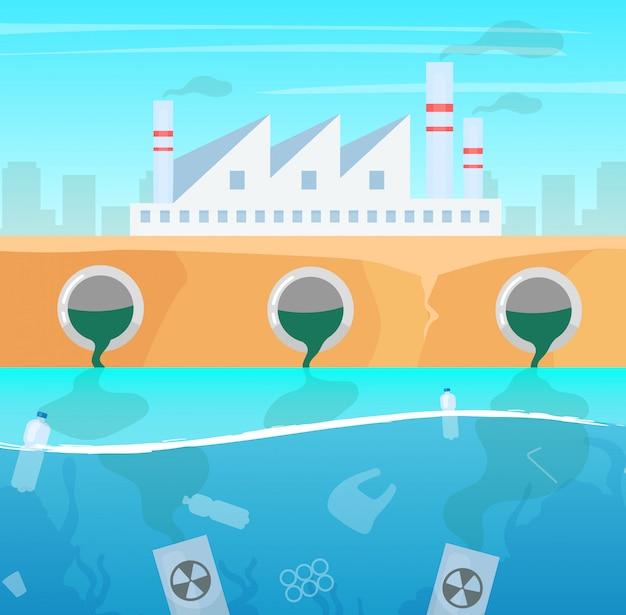 水と大気汚染のイラスト。製造業の自然の損傷。生態学的大災害。海のプラスチックごみ。海の汚染。産業工場の有毒汚染 Premiumベクター
