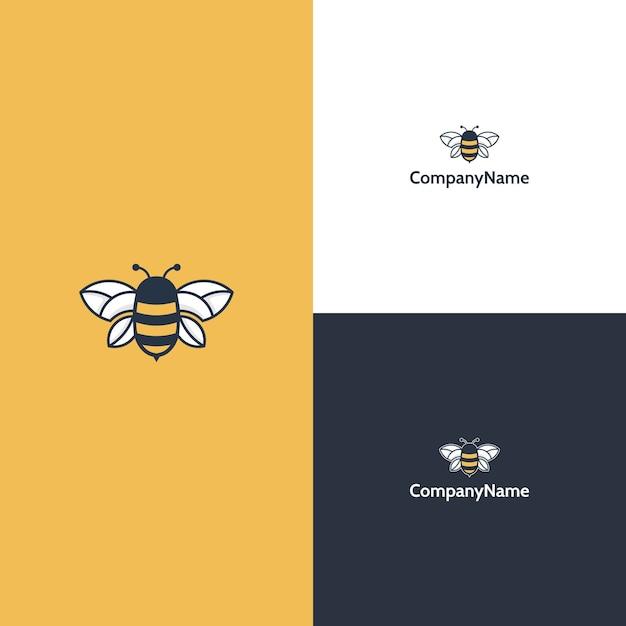 Шаблон логотипа современной пчелы Premium векторы