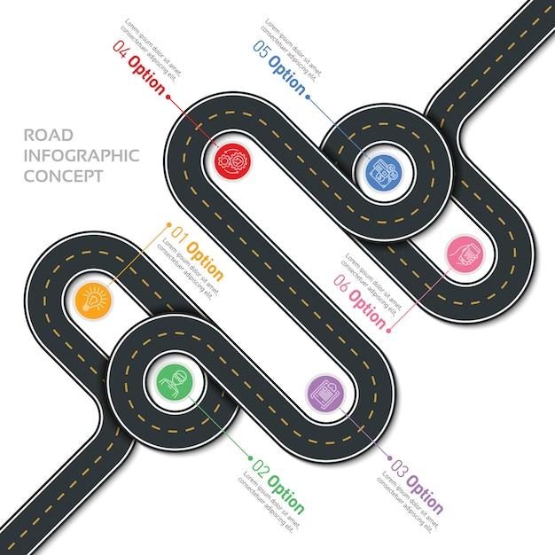 Карта навигации инфотемплей извилистая дорога Premium векторы