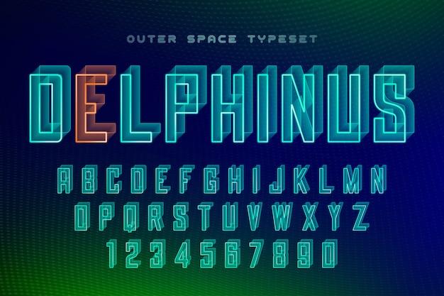 Норма футуристический декоративный шрифт, алфавит Premium векторы