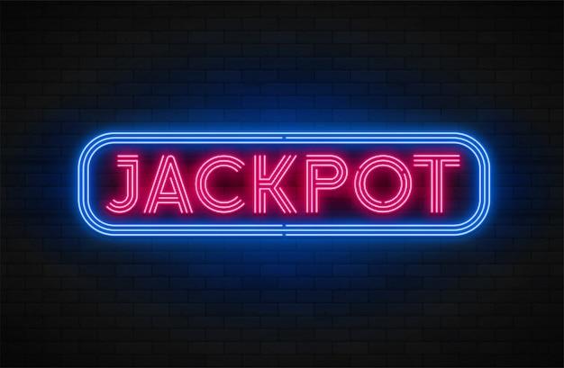 Неоновый свет линейный рекламный баннер, джекпот, игра, большой выигрыш. Premium векторы