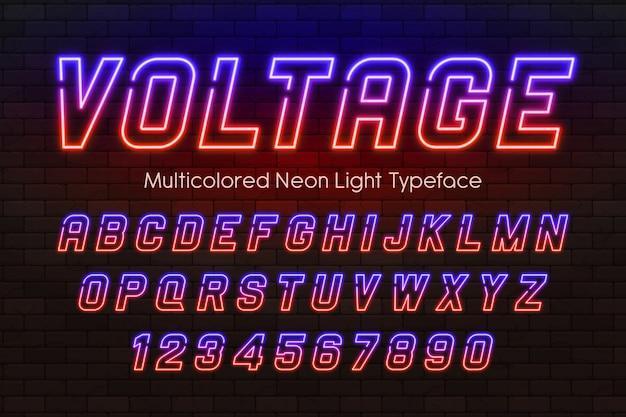 Неоновый свет алфавит, разноцветный дополнительный светящийся шрифт Premium векторы