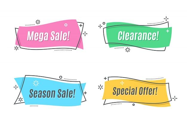 Плоский линейный рекламный баннер Premium векторы