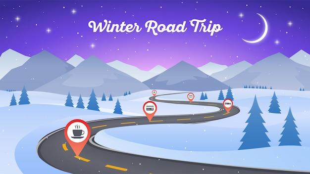 曲がりくねった道経路と冬の雪景色 Premiumベクター