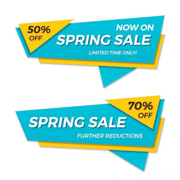 春販売ラベル値札バナーバッジテンプレートステッカーデザイン。 Premiumベクター