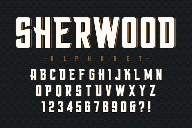 Векторный сокращенный оригинальный шрифт с алфавитом, характер Premium векторы