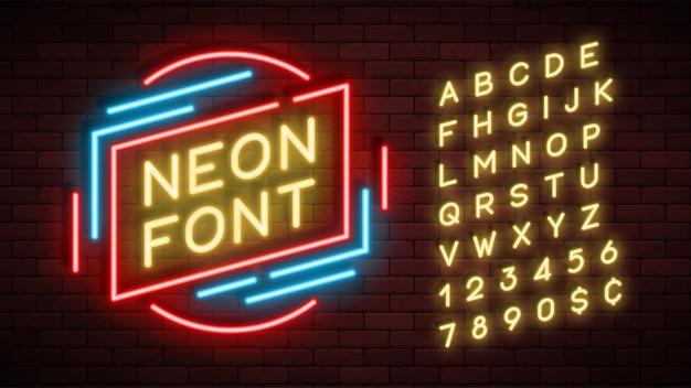 ネオンライトアルファベット、現実的な余分な輝くフォント Premiumベクター