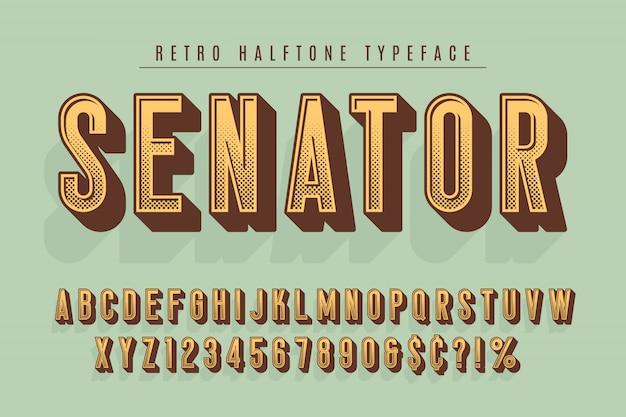 上院議員のトレンディなビンテージディスプレイフォントデザイン Premiumベクター
