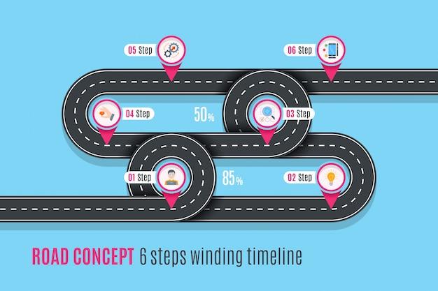 Дорожная концепция времени, инфографики, плоский стиль Premium векторы