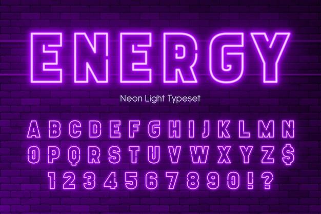 ネオンライトアルファベット、余分な輝くフォントデザイン。 Premiumベクター