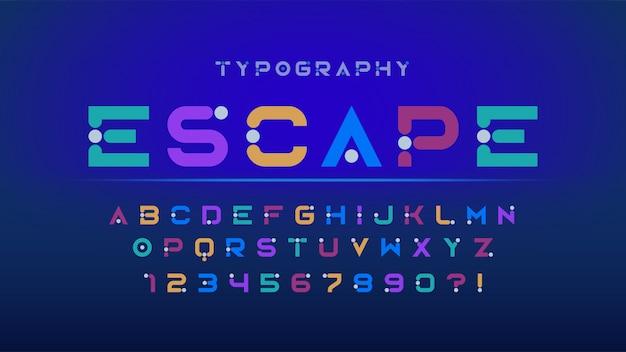 オリジナルの未来的なディスプレイフォントデザイン、アルファベットと数字。 Premiumベクター