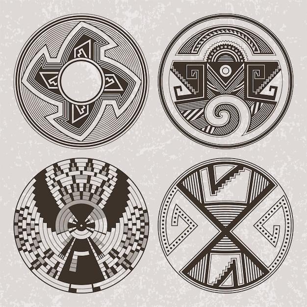 Северная америка искусство индейцев пуэбло тату и принт Premium векторы