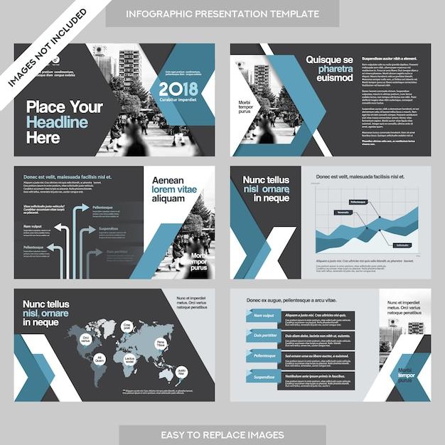 インフォグラフィックステンプレートを使用した都市の背景企業のプレゼンテーション。 Premiumベクター