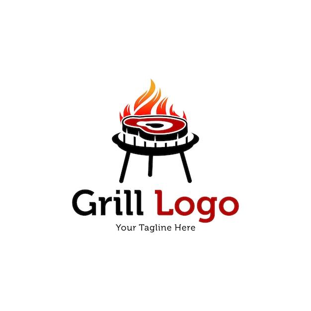 ホットグリルのロゴのテンプレート Premiumベクター