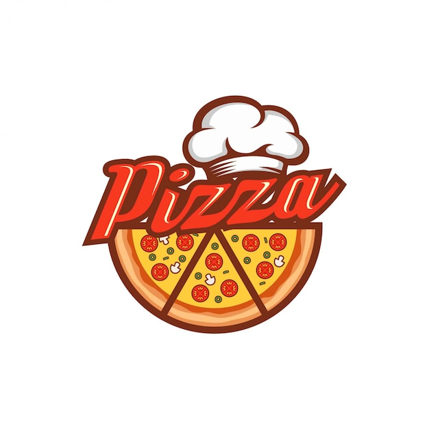 ピザのロゴのデザインテンプレート Premiumベクター