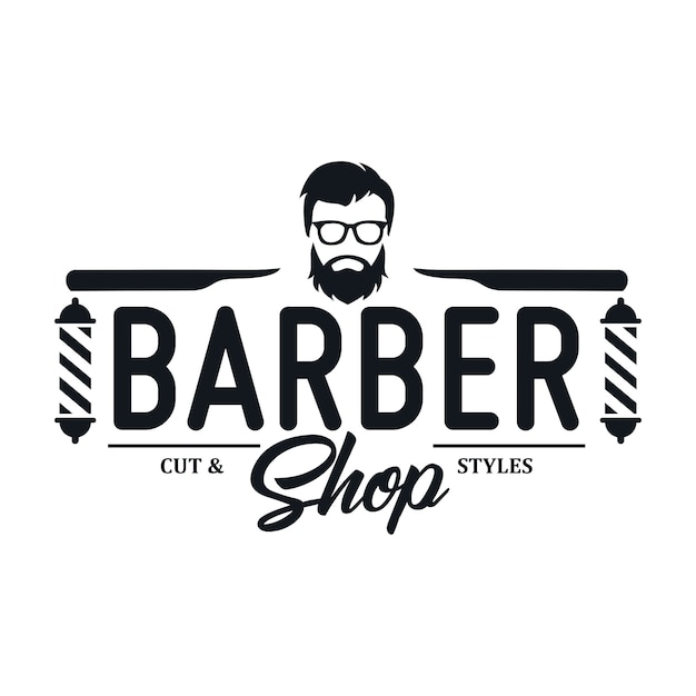 ビンテージ理髪店のロゴのテンプレート Premiumベクター